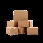 Cajas de cartón con fondo transparente